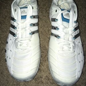 Adidas Tennis shoes- white/blue/silver size 11